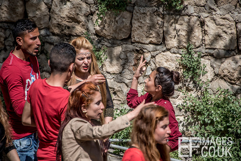 Some Sort Of Altercation Occurring In The Red Wednesday Crowds In Lalish, Iraq, To Celebrate Red Wednesday, Or Yezidi New Year. 19th April 2017