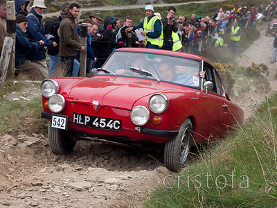 an NSU Sport Prinz climbs the steep Blue Hills section of the MCC Land's End Trials