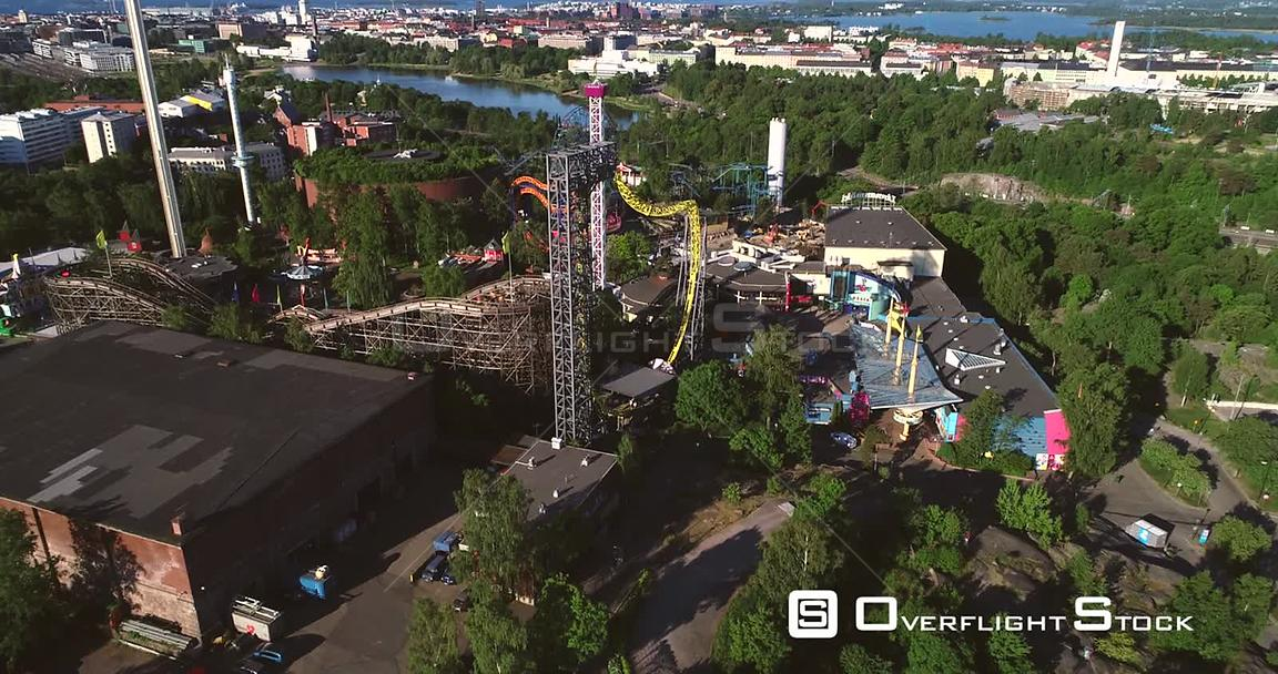 Linnanmaki, Aerial  Sideway View Around Helsinki Amusement Park, on a Sunny Summer Morning Dawn, in Helsingfors, Uusimaa, Finland