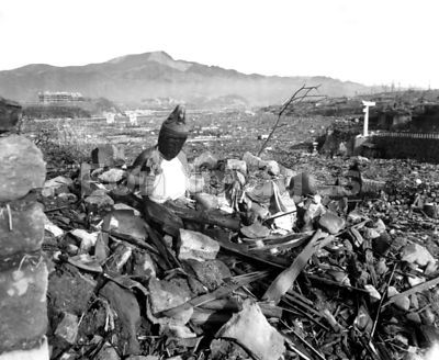 Religious figures amid ruins of Nagasaki following attack