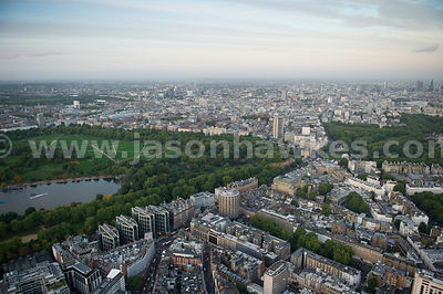 Aerial view of Knightsbridge and Hyde Park, London
