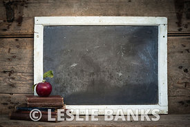 Vintage Chalkboard with School Books