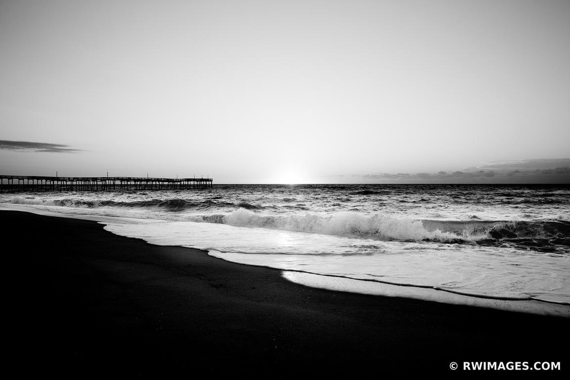FISHING PIER SUNRISE ATLANTIC OCEAN OUTER BANKS NORTH CAROLINA BLACK AND WHITE