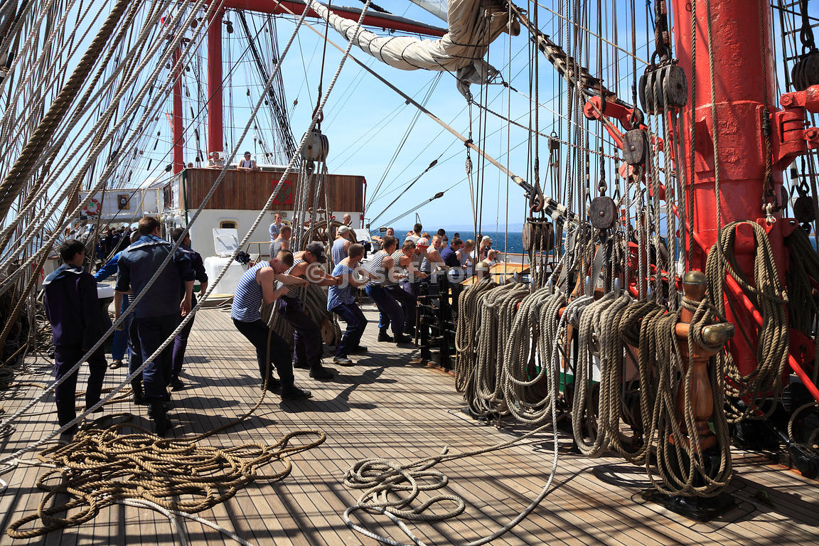 Work with sails, four masted barque Sedov, Strait of Gibraltar