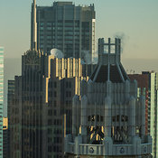 Top structure of 75 E Upper Wacker Dr and NBC tower, Chicago, Illinois, USA