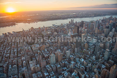 Aerial view of Midtown Manhattan at sunset