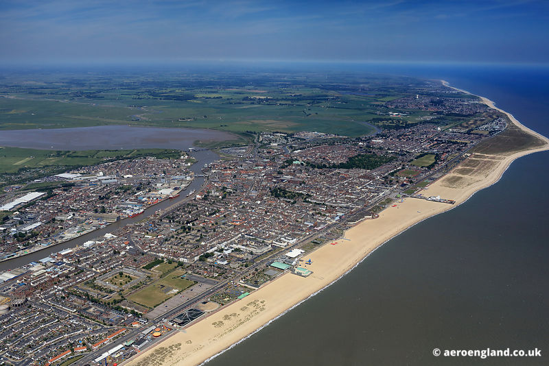 Panoramic aerial photograph of Great Yarmouth