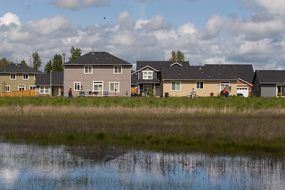 New homes built on filled wetlands in the Willamette Valley, Eugene, Oregon. 99%% of the wetlands in the valley have already been destroyed by humans.