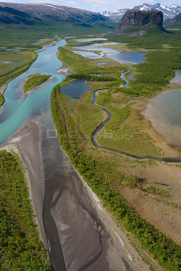 Aerial view of the Rapa river delta with distant, Sarek National Park, Greater Laponia Rewilding Area, Lapland, Norrbotten, Sweden, June 2013.