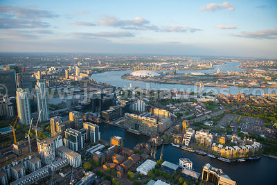 Aerial view of Isle of Dogs, Tower Hamlets, looking towards the Greenwich Peninsula, London