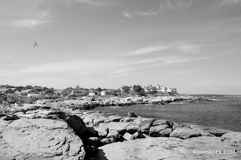 CAPE NEDDICK DOWN EAST MAINE COAST BLACK AND WHITE