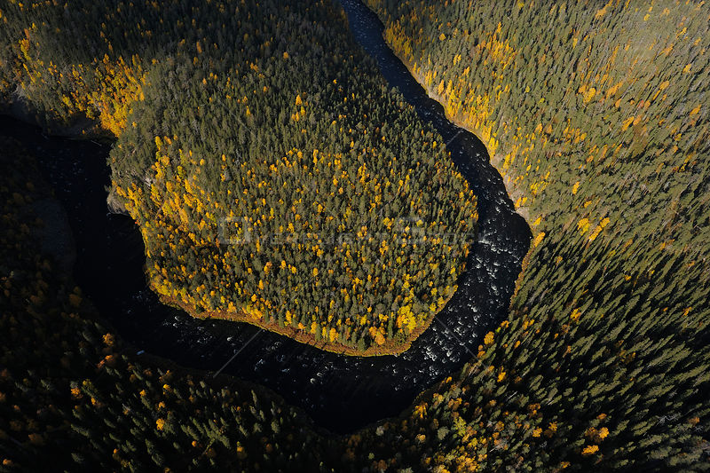 Aerial view of Kitkajoki River, Oulanka, Finland, September 2008