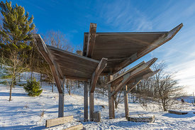 Shade Structures along Beach in Rosy Mound Natural Area along Lake Michigan