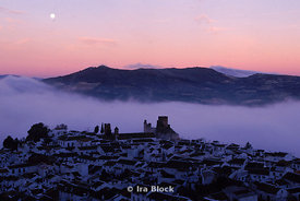 Sunrise and morning fog over the town of Baena, Spain.