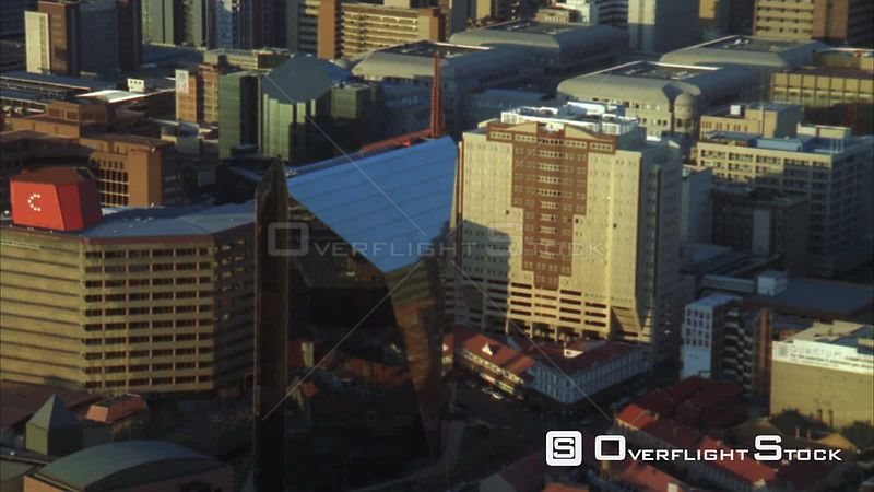 Aerial shot of the Nelson Mandela Bridge over a railway lines and trains. Johannesburg Gauteng South Africa