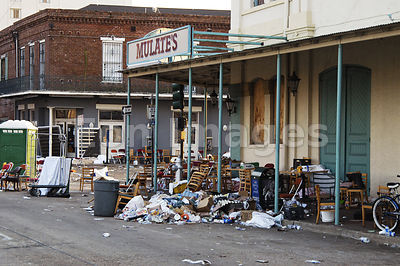 Debris outside New Orleans convention center after Katrina