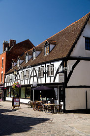 Timber Framed Building used as a restaurant, near the Cathedral, Gloucester, Gloucester, England.