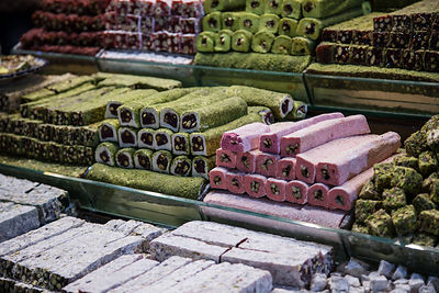 Turkish Delight and nougat for sale in the spice market, Istanbul