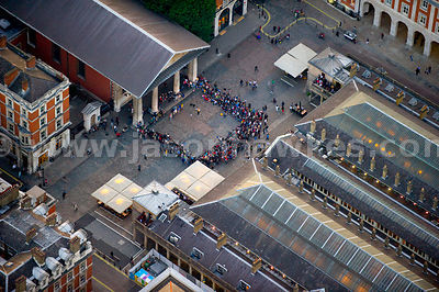 Aerial view of people in Covent Garden