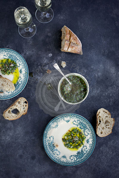 Italian Style Salsa Verde served with bread and white wine.
