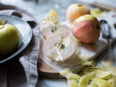 Apples peeled and prepared for cooking