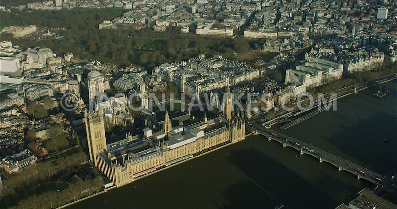 London Aerial Footage of Houses of Parliament and Big Ben.