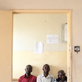 Patients wait nervously for their cataract surgery at St Paul's Hospital, Nchelenge