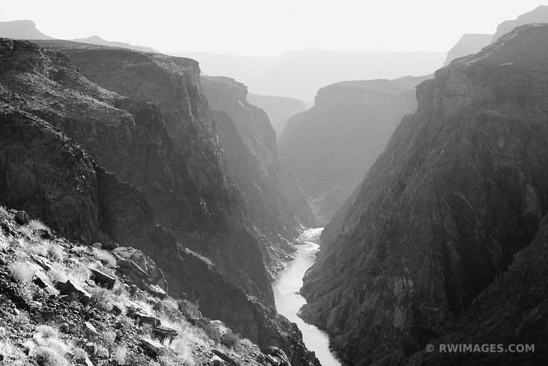 GRANITE GORGE COLORADO RIVER CLEAR CREEK TRAIL GRAND CANYON NATIONAL PARK BLACK AND WHITE