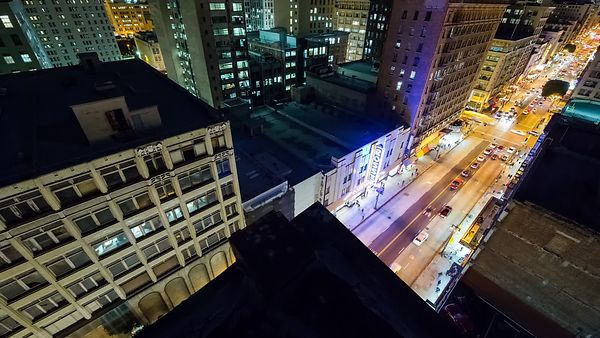 Moving Bird's Eye Over Downtown L.A.'s Broadway at Night