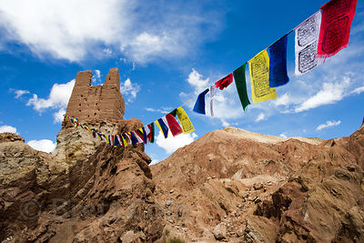 Prayer flags near Basgo Gompa, Basgo Village, Ladakh, India