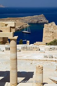 boats in  bay from the acropolis, lindos, rhodes, dodecanese islands, Greece.