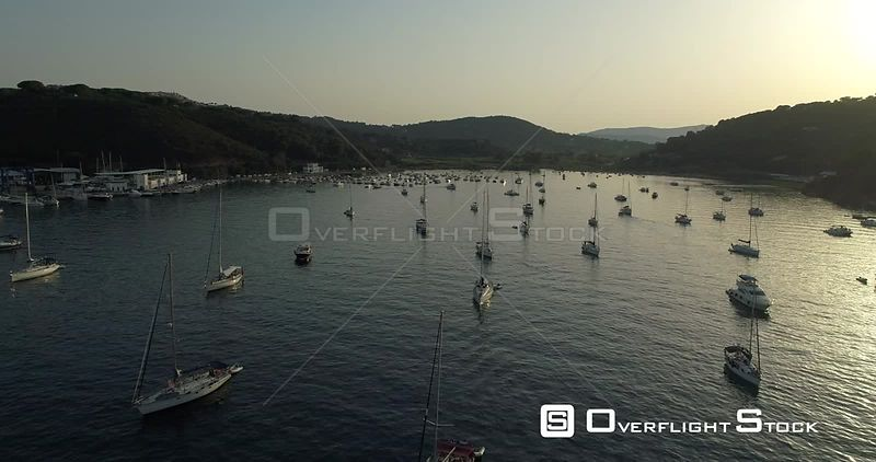 Sailboats at Anchor Porto Azzurro Livorno Elba Island Tuscany Drone Video Italy