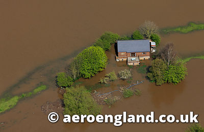 aerial photograph of flooding on the River Dee , Cheshire England UK