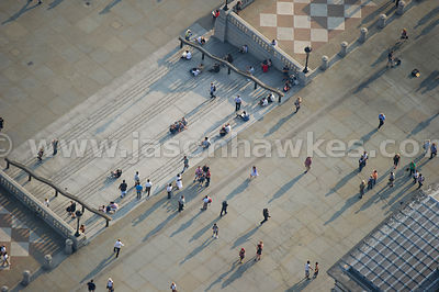 Aerial view of people in Trafalgar Square, London