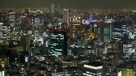 Bird's Eye: Flickering Mid-Rises & High-Rises in Tokyo at Night