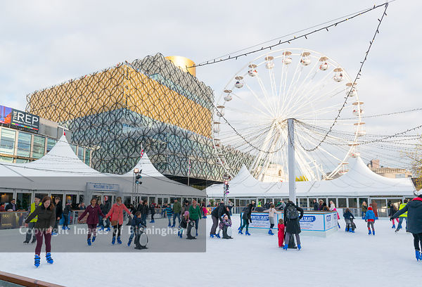 Ice rink in Centenary Square, in front of The new Library of Birmingham, England.