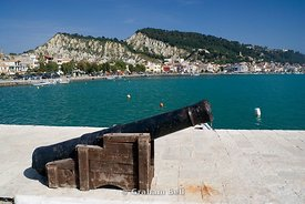 canon and habour, zakynthos town with bohali hill in the distance, zante, Greece