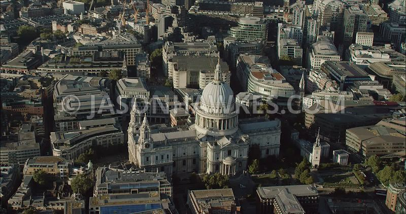 London Aerial Footage of St Paul's Cathedral.