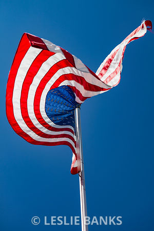 American Flag Blowing in the Wind