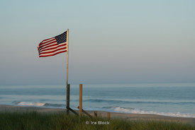 An American flag on the beach Amagansett, New York.