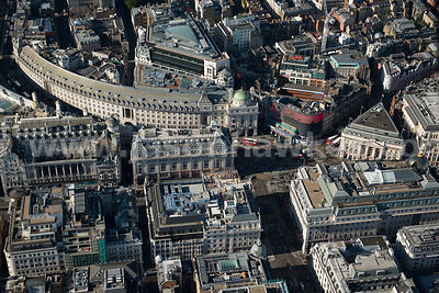 Aerial view of Piccadilly Circus, London