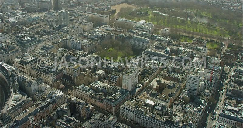 London Aerial Footage Regent Street towards Green Park.