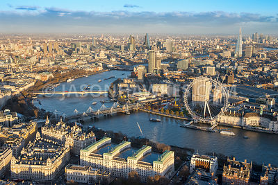 Aerial view of London, Whitehall towards Southbank.