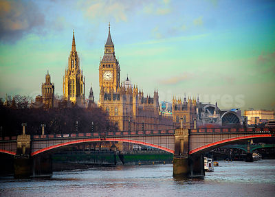 Big Ben's Clock Standing over the Houses of Parliament with Lambeth Bridge in the Foreground
