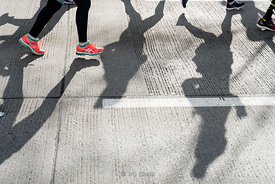 Shadows of the runners at United Airlines NYC Half Marathon.  This race celebrates its 10th annual running in 2016.