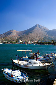 fishing boats sea and mountains elounda aghios nicolaos lasithi crete Greece