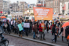 Women's March for solidarity, equality and unity, Amsterdam, the Netherlands