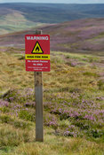Fire Risk warning sign on a tinder dry moor, North Yorkshire, UK