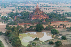 Flying over ancient temples in Bagan, Myanmar.