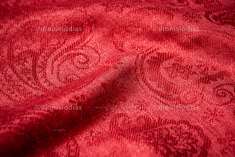 Red Cashmere fabric in detail